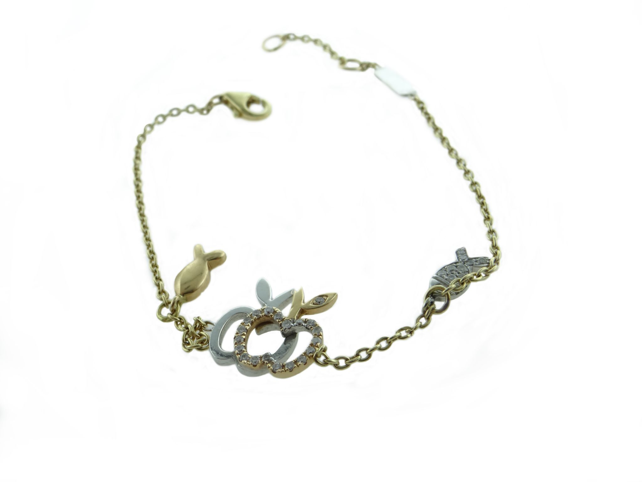 Apple design bracelet with white and yellow gold, embedded with ...